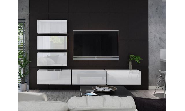 Moderní obývací stěna Bonny 04, bílá/bílý lesk