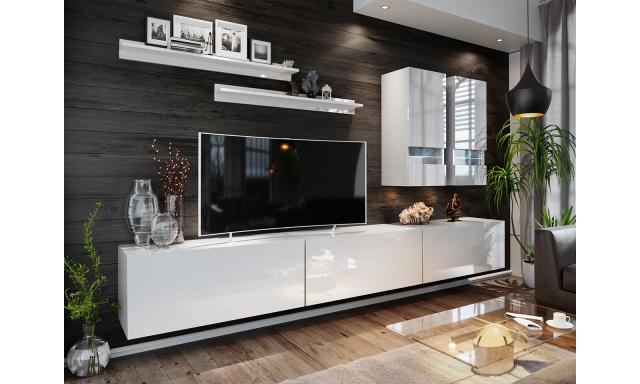 Moderní obývací stěna Bonny 01, bílá/bílý lesk