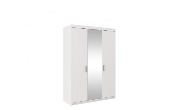 Šatní skřín Alena 3D, bílá/zrcadlo