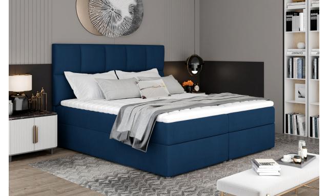 Box spring postel Grass 200x185cm, modrá Žinilka
