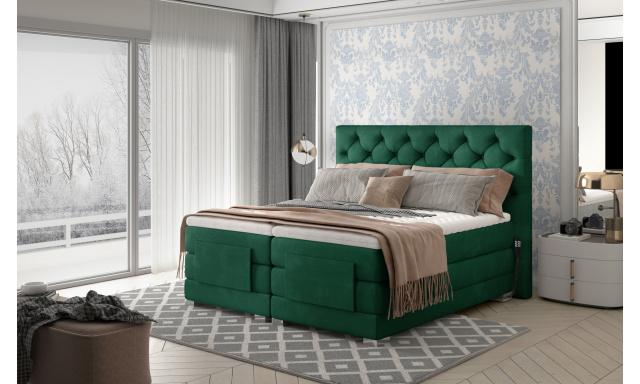 Box spring postel Clif 180x200, zelená, elektrické polohování