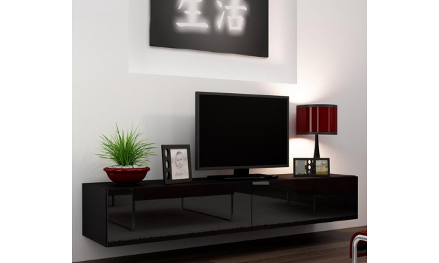 TV stolek Igore 140, černá/černý lesk