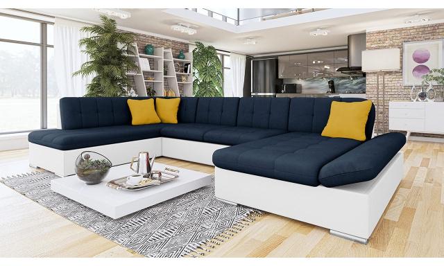 Luxusní sedačka ve tvaru U Bravo, bílá/modrá