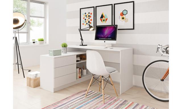PC stůl s komodou Teide, bílý