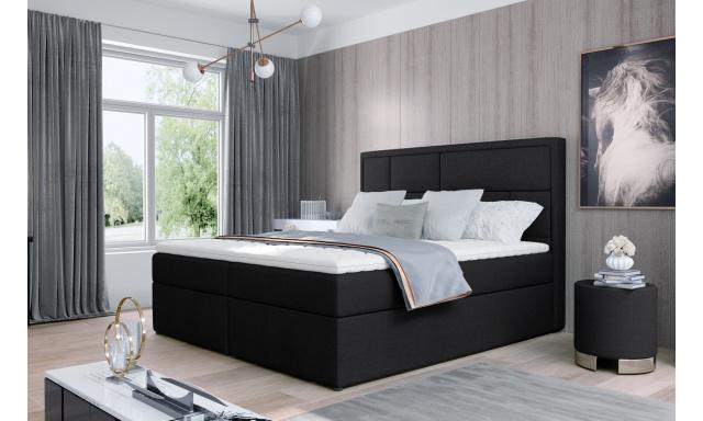Kvalitní box spring postel Meredit 180x200, černá Velvet