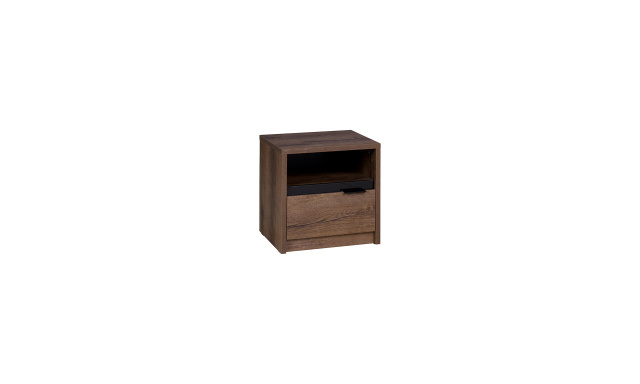 Noční stolek Drake SN, dub monastery/černý lesk