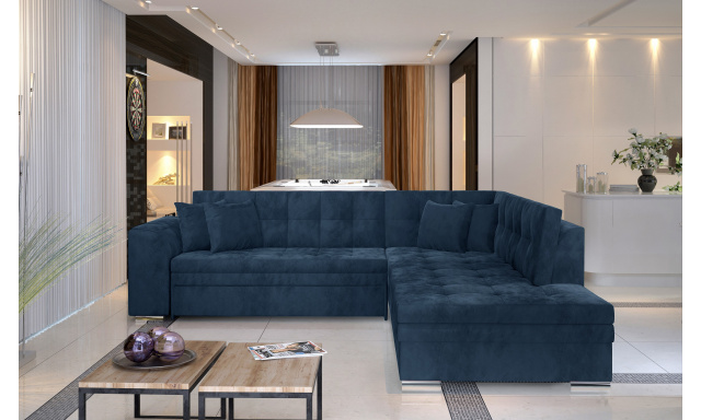 Moderní rohová sedačka Presta, modrá