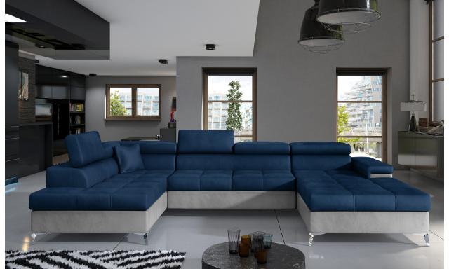 Rohová sedačka ve tvaru U Esperanza, šedá/modrá Monolith