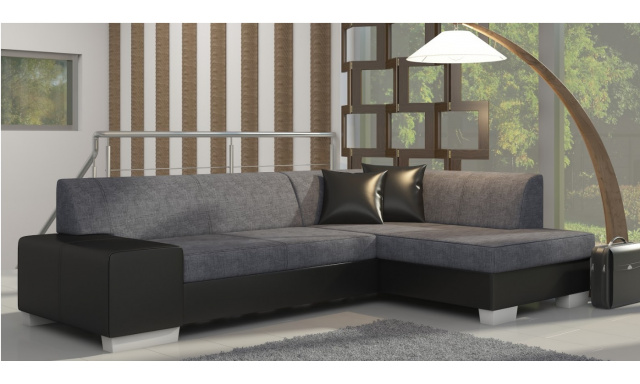 Moderní rohová sedačka Filip, černá/šedá