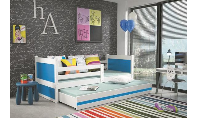 Dětská postel pro 2 děti Random, bílá/modrá, 190x80cm