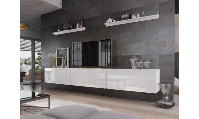 Moderní obývací stěna Bonny 06, bílá/bílý lesk