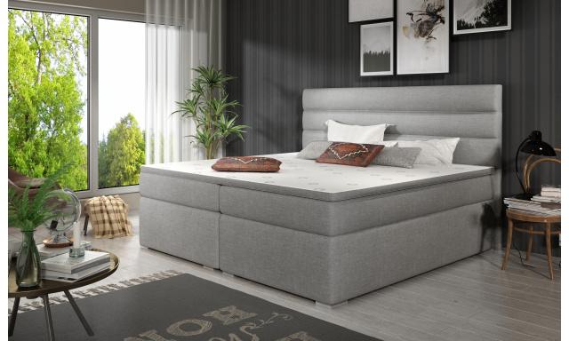 Elegantní box spring postel Sedina 180x200, šedá