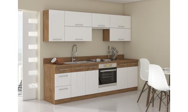 Luxusní kuchyně Verizon 260cm, dub Lancelot / bílý lesk