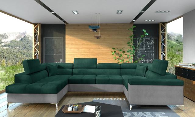 Rohová sedačka ve tvaru U Teuns, šedá/zelená Monolith