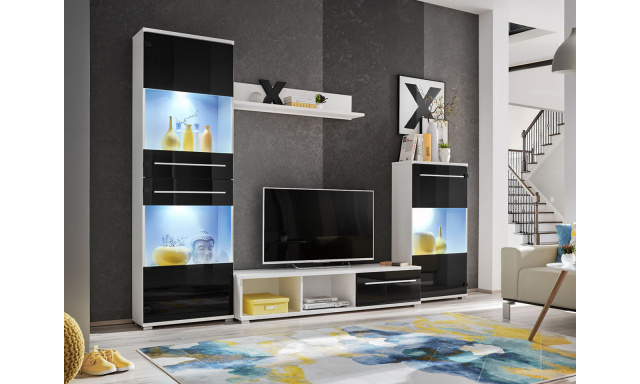 Moderní obývací stěna Lipo, bílá/černá + LED podsvícení