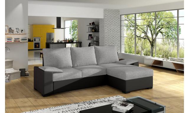 Moderní rohová sedačka Favour, černá/šedá