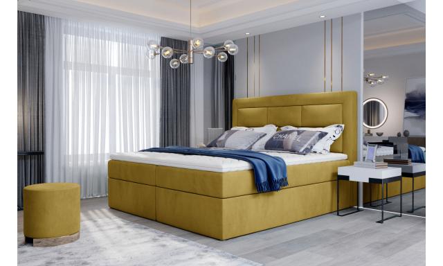 Kvalitní box spring postel Vanity 180x200, žlutá Monolith