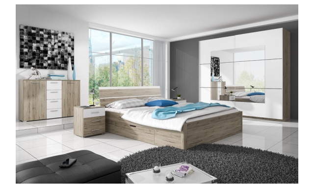 Ložnice Beata s postelí 180cm, dub san remo/bílá