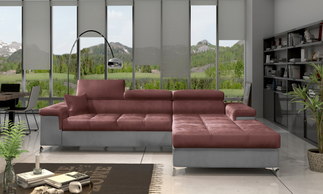 Moderní rohová sedačka Relina, šedá/červená Monolith