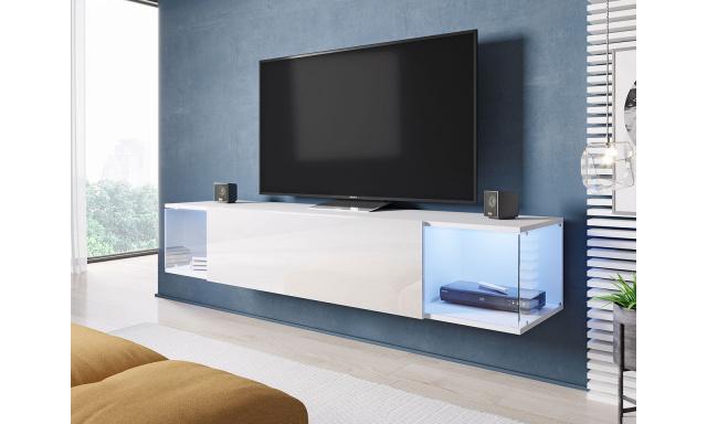 Moderní TV stolek Shock, bílá / bílý lesk + LED