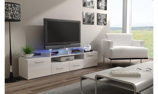 TV stolek Evora, bílá/bílý lesk