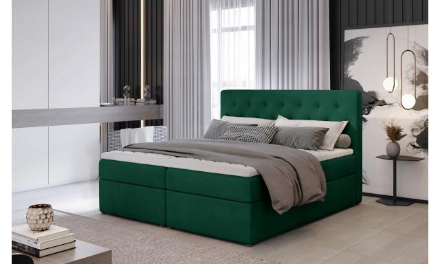 Kvalitní box spring postel Lapito 180x200, zelená Monolith