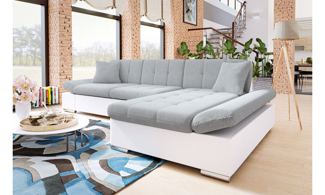 Moderní rohová sedačka Malaga, bílá/šedá