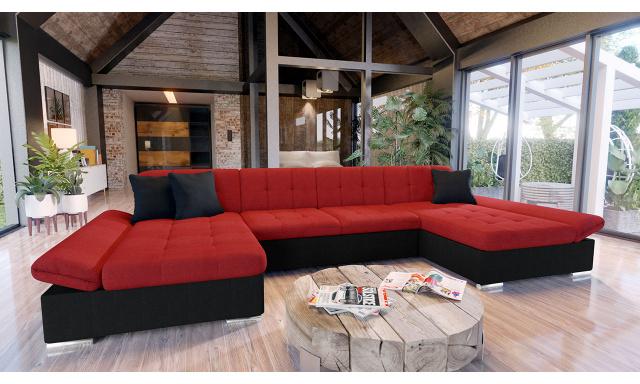 Luxusní sedací souprava Agapi, černá/červená