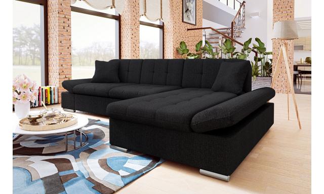 Moderní rohová sedačka Malaga, černá