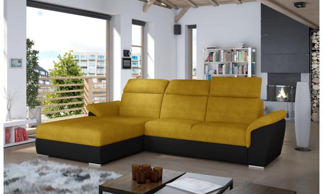 Moderní rohová sedačka Trango, černá/žlutá