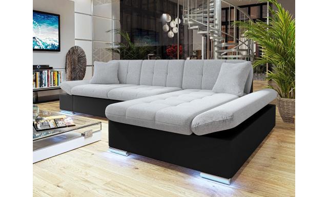 Moderní rohová sedačka Vaduz s LED osvětlením, černá/šedá