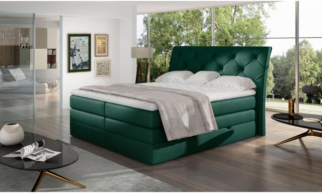 Kvalitní box spring postel Marek 180x200, zelená