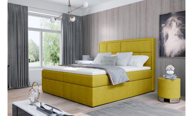 Kvalitní box spring postel Meredit 180x200, žlutá Omega