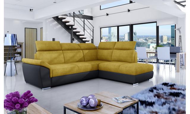Rohová sedačka Lopez, černá/žlutá