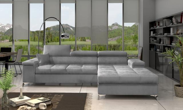 Moderní rohová sedačka Relina, šedá Monolith