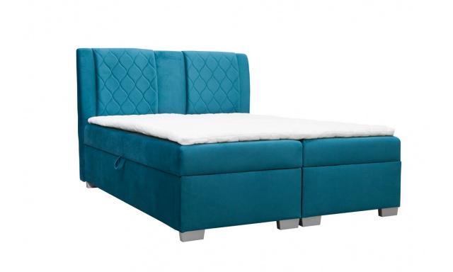 Moderní box spring postel Colombo 180x200, modrá