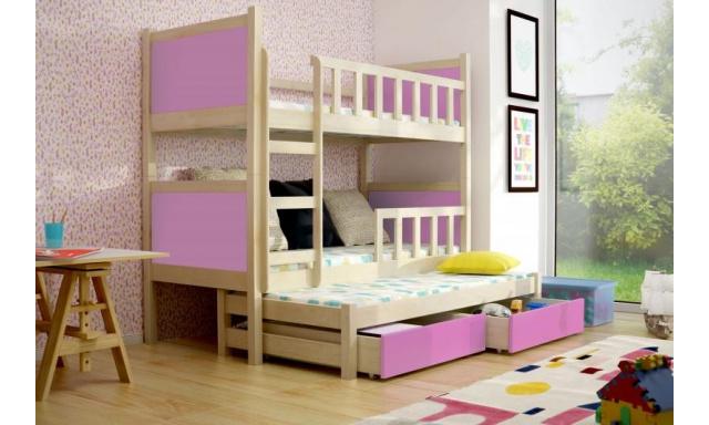 Dětská postel pro 3 děti Paris, přírodní/růžová + MATRACE