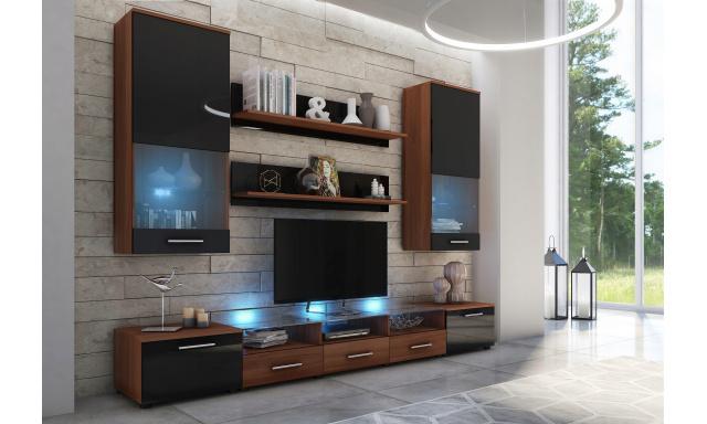 Moderní obývací stěna Centaur 02, švestka/černý lesk