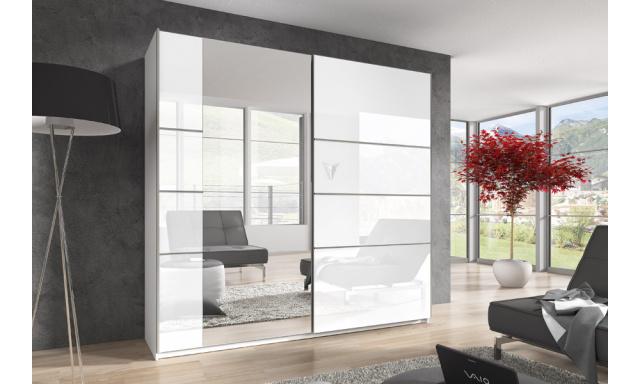 Šatní skřín Beata 220cm, bílý lesk/zrcadlo