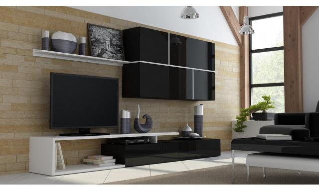 Luxusní černá obývací stěna Gono, vysoký lesk