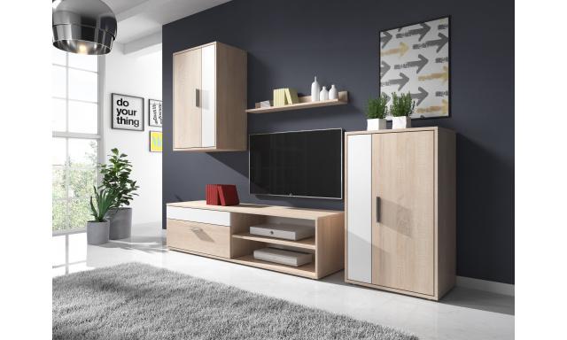 Moderní obývací stěna Toreto, sonoma/bílá