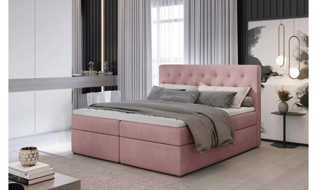 Kvalitní box spring postel Lapito 180x200, růžová Velvet