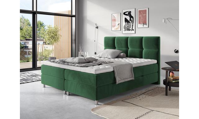 Moderní box spring postel Angela 180x200, zelená