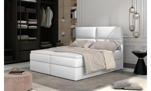 Prodloužená box spring postel Adam 210x185cm, bílá