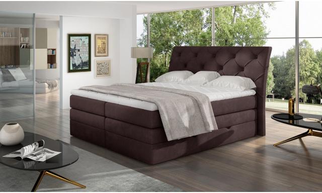 Kvalitní box spring postel Marek 180x200, hnědá