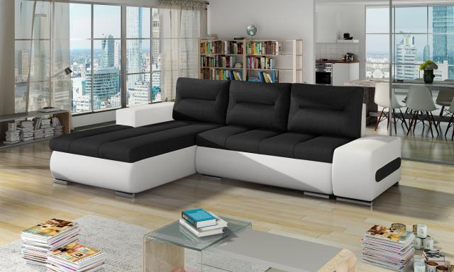 Moderní rohová sedačka Octavio, bílá/černá