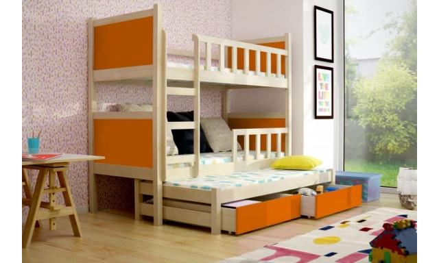 Dětská postel pro 3 děti Paris, přírodní/oranžová + MATRACE