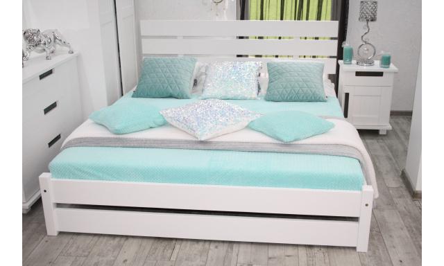 Manželská postel z masivu Carpet, 160x200cm, bílá