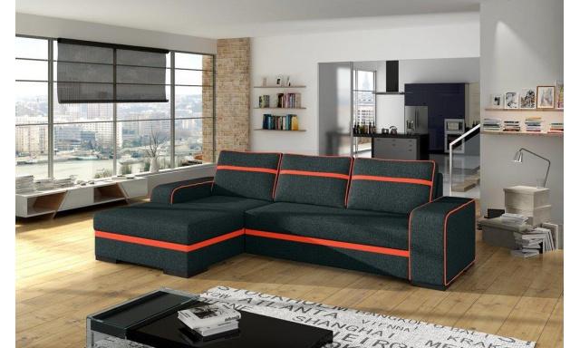 Moderní rohová sedačka Fonso, černá/oranžová