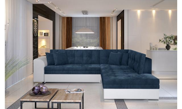 Moderní rohová sedačka Presta, bílá/modrá